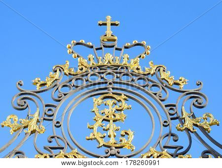 Fragment of Catherine palace fence in Tsarskoye Selo suburb of St.Petersburg Russia.