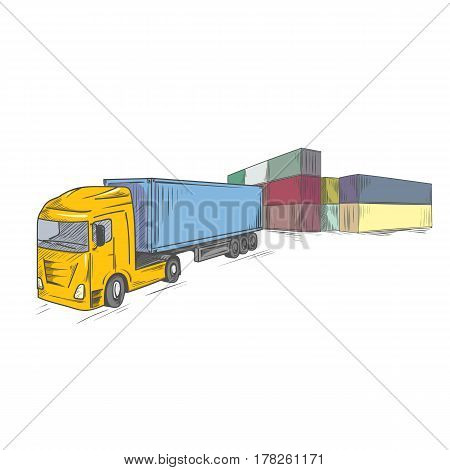 Logistics sketchy sign with container truck. Hand drawn vector illustration