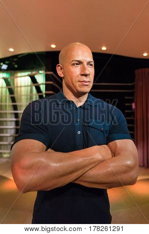 Bangkok - Jan 29: A Waxwork Of Vin Diesel On Display At Madame Tussauds On January 29, 2016 In Bangk