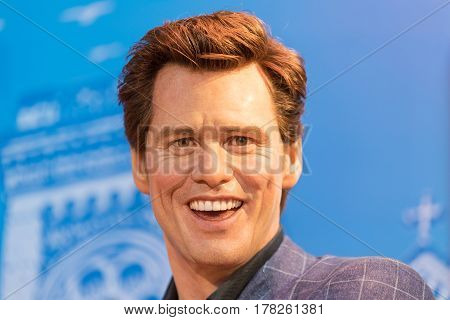 Bangkok -jan 29: A Waxwork Of Jim Carrey On Display At Madame Tussauds On January 29, 2016 In Bangko