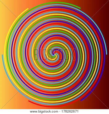 Color spiral on a beige background abstraction