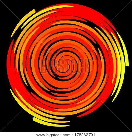 Color spiral on a black background abstraction