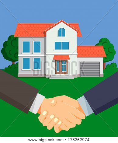 Successful purchase of a new house. Special offer from real estate agent. Successful deal, the buyer shakes hands with the seller. Vector illustration in flat design.