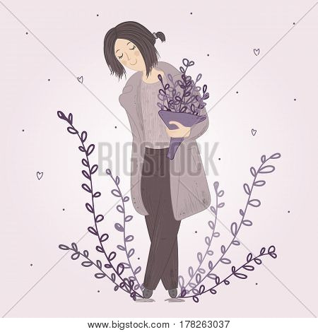 Cute cartoon fashion girl in coat and trousers with bouquet of wildflowers. Beauty and style