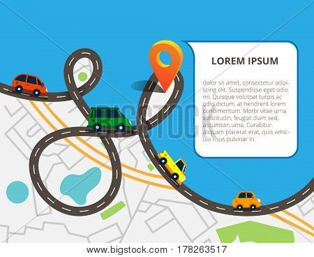 Top view city map with road and a lot of colorful cars, navigation pin. Can used for info graphic and web banners. Vector illustration in flat style.