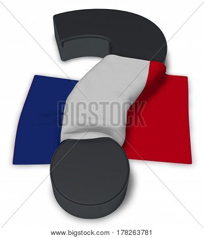 question mark and flag of france - 3d illustration