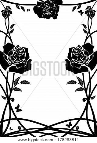 vector floral frame with roses and butterflies in black and white colors