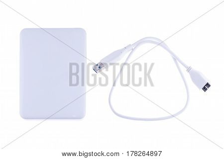 White external hard drive for backup and storage data isolated on white background