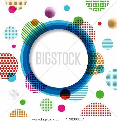 colorful circle and dotty background isolated on white background