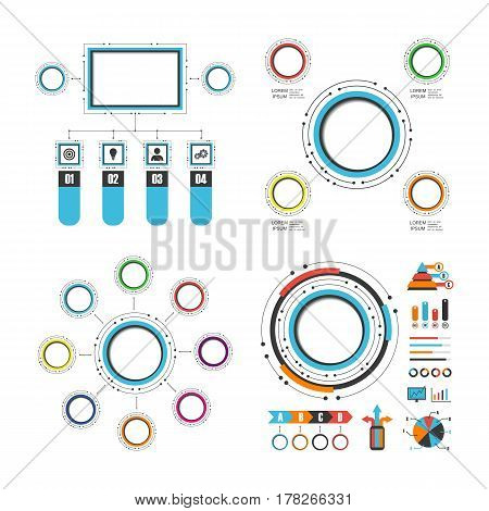 colorful circle infographic set isolated on white background