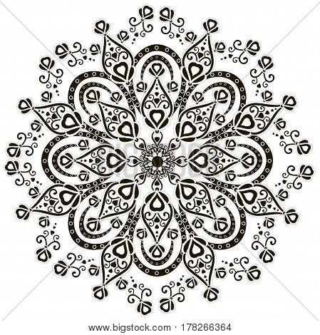 Monochrome hand drawn mandala stock vector illustration