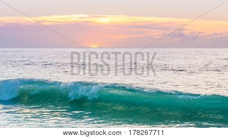 Amazing and colorful sunset over the ocean