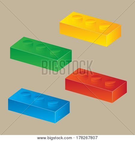Construction toy cubes. Connector bricks. 3D isometric set