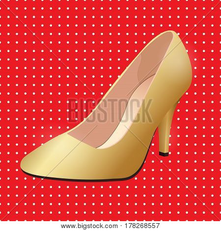 Vector shoes, women's gold classic boat shoe on high heel spike on a red background with polka dots