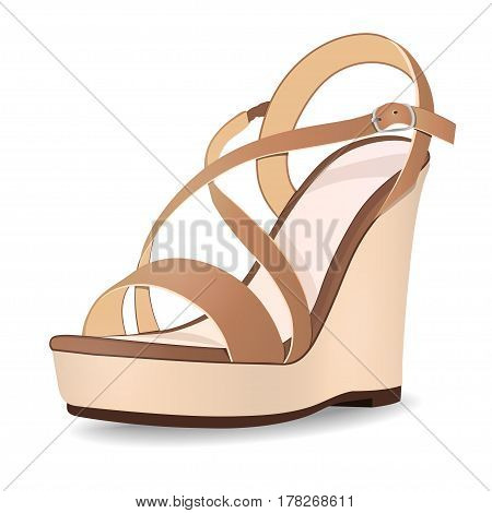 Vector shoes, women's beige brown sandals from open-topped on a tankette, isolated on white background