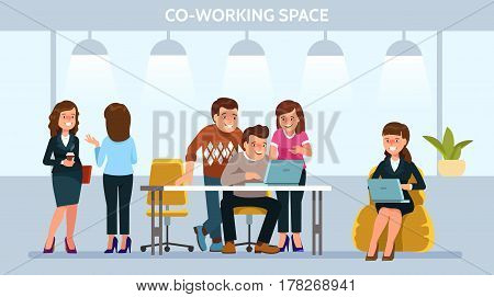 Vector illustration young adult people meeting working and talking discuss ideas co working center. Team teamwork togetherness collaboration