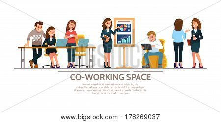 Vector illustration young adult group people meeting working and talking co working center. Team teamwork togetherness collaboration