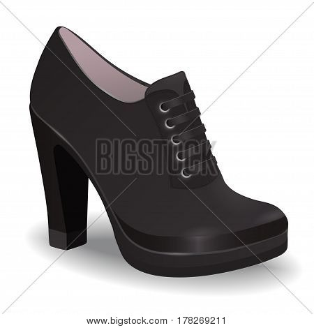 Vector shoes, women's black ankle boots on high heel with shoelaces, isolated on white background