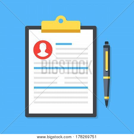 Clipboard with man silhouette icon and pen. Curriculum vitae, job application form with profile photo concept. Premium quality. Top view. Modern flat design graphic elements. Vector illustration