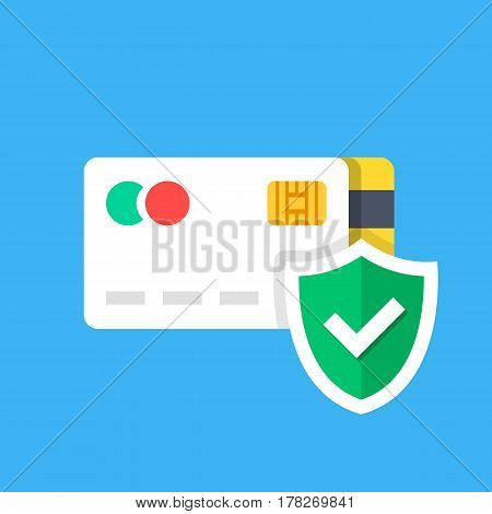 Credit card and shield with checkmark. Purchase protection, secure payment, protected transaction concepts. Premium quality. Modern flat design graphic elements. Vector illustration