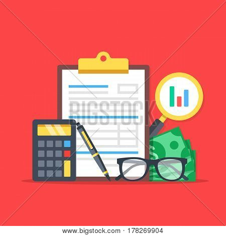 Financial analysis, accounting, business audit. Flat design graphic elements, flat icons set. Premium quality. Modern concepts for web banners, websites, printed materials. Vector illustration