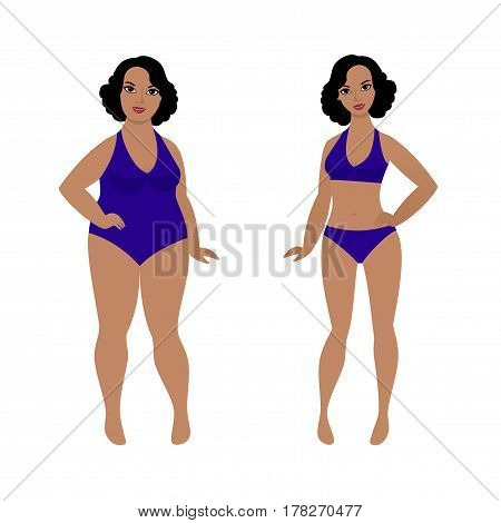 Woman before and after weight loss from fat to slim