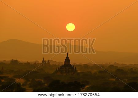 Sunset Scene With Pagoda Field In Bagan,myanmar