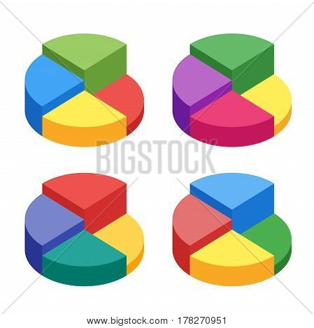 Pie chart on isolated background. Set of bulk isometric pie charts different heights. Business data, colorful elements for infographics. Vector illustration.