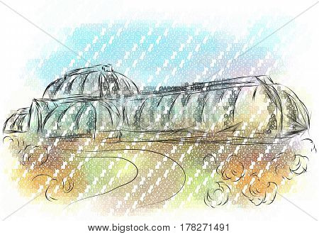 kew gardens. abstract vector illustration of greenhouse