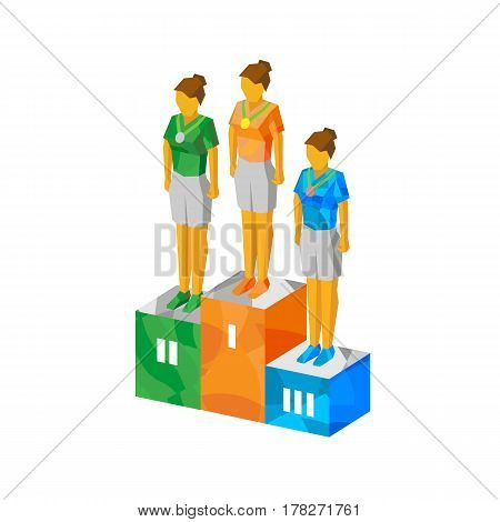 Isometric Women Champions On Pedestal With Medals