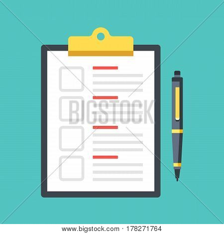 Checklist with checkboxes and pen. Clipboard with document and check boxes. Top view. Premium quality. Modern flat design graphic elements. Vector illustration