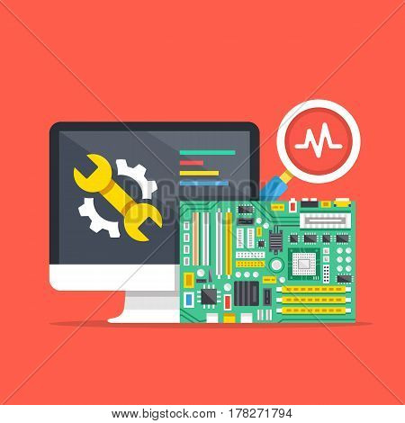 Computer repair, computer service, diagnostics concepts. Premium quality. Modern flat design graphic elements for web banners, websites, infographics, printed materials. Vector illustration