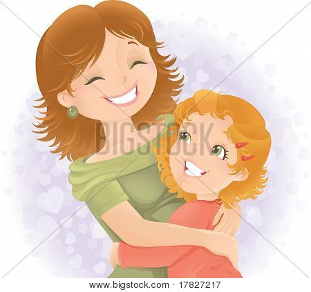 Mothers day greeting illustration.