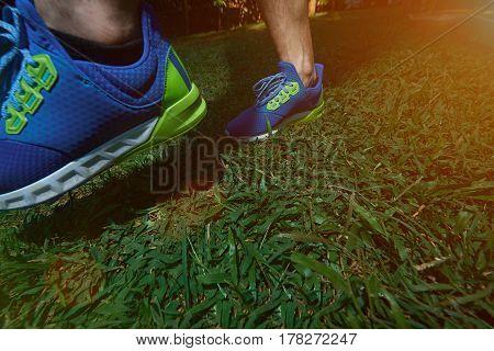 Man Making Step On Blur Run Shoes