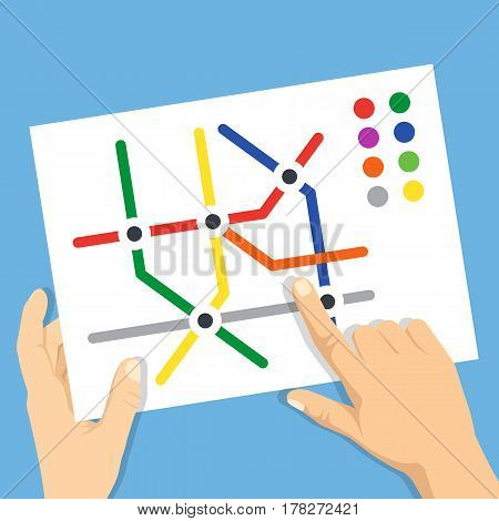 Hands holding subway map. Find metro station, subway navigation, traveling, route or trip planner concepts. Modern flat design graphic elements for web banners, websites. Vector illustration