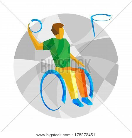 Physically Disabled Basketball Player Whith Abstract Patterns