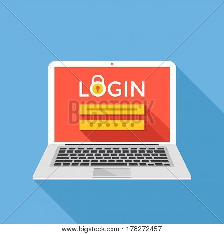 Laptop with login page on screen. Sign in, registration, authorization, enter login and password concepts. Modern graphic design for web banners, website, infographics. Flat design vector illustration