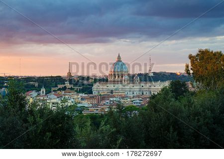 St. Peters Basilica At Sunset
