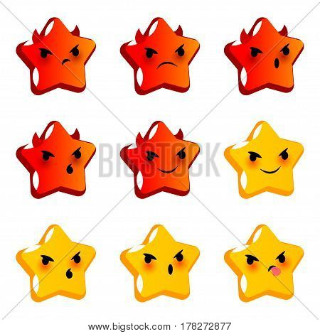Emotional angry star evil devil faces smiles set. Vector illustration smile icon. Face emoji yellow icon. Smile cute funny emotion face. Negative feelings expression