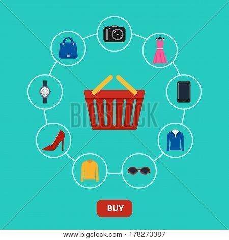 Vector illustration. Set of icons online shop. Basket of goods - clothing, eyeglasses, smartphone, camera. Design for web banner, business card, poster. E-Commerce.
