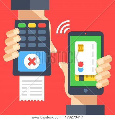 Hand holding payment terminal with cross check mark and receipt, hand holding smartphone with credit card. Rejected transaction, wrong pin entry, insufficient funds. Flat design vector illustration