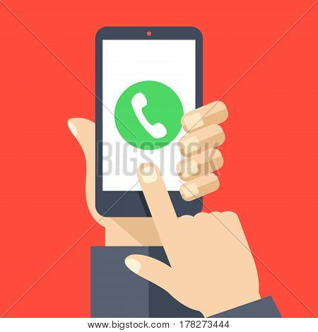 Phone call button on smartphone screen. Hand holding smartphone, finger touching screen. Answer the call. Modern concept for web banners, web sites, infographics. Flat design vector illustration