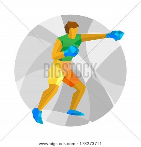 Boxer On Mosaic Background. Boxing Clip Art.