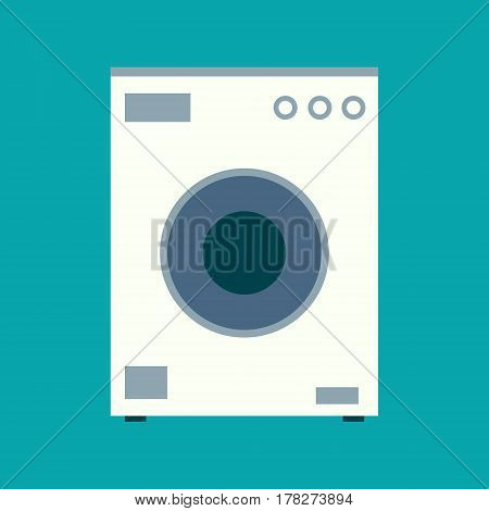 Washing Machine Vector Icon In Flat Design Style. Domestic Clothes Washer Device Symbol. Home Electr