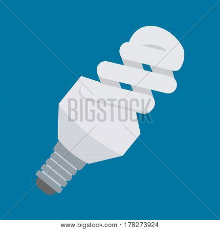 Electric Light Bulb Vector Icon In Flat Style Design. Compact Fluorescent Lamp Or Cfl Symbol. Energy