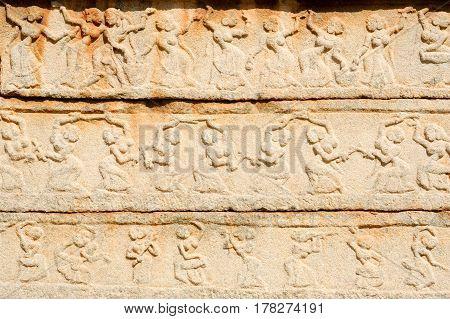 Basrelief Artwork Of Royal Enclosure Temple At Hampi