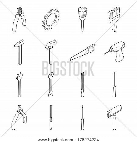 Vector illustration. Set of icons of tools for repair and construction. Isometric 3D. Contour.