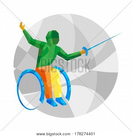 Physically Disabled Fencer With Abstract Patterns.