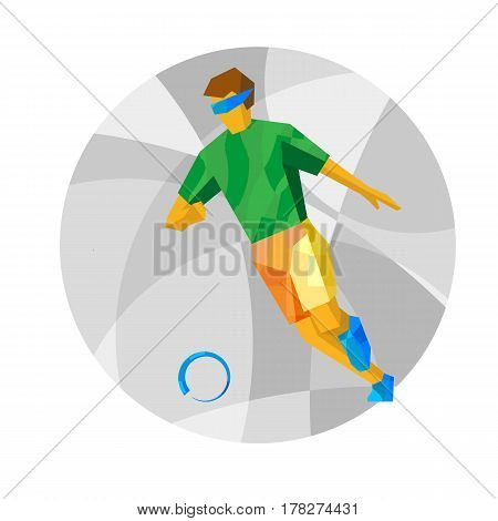 Physically Disabled Blind Football Player With Abstract Patterns