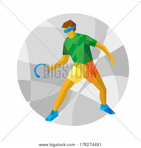 Physically Disabled Goalball Player With Abstract Patterns